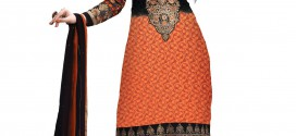 New Orange Semi-Stitched Georgette Salwar Suit