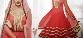 New Indian Red and Golden Work Anarkali Partywear