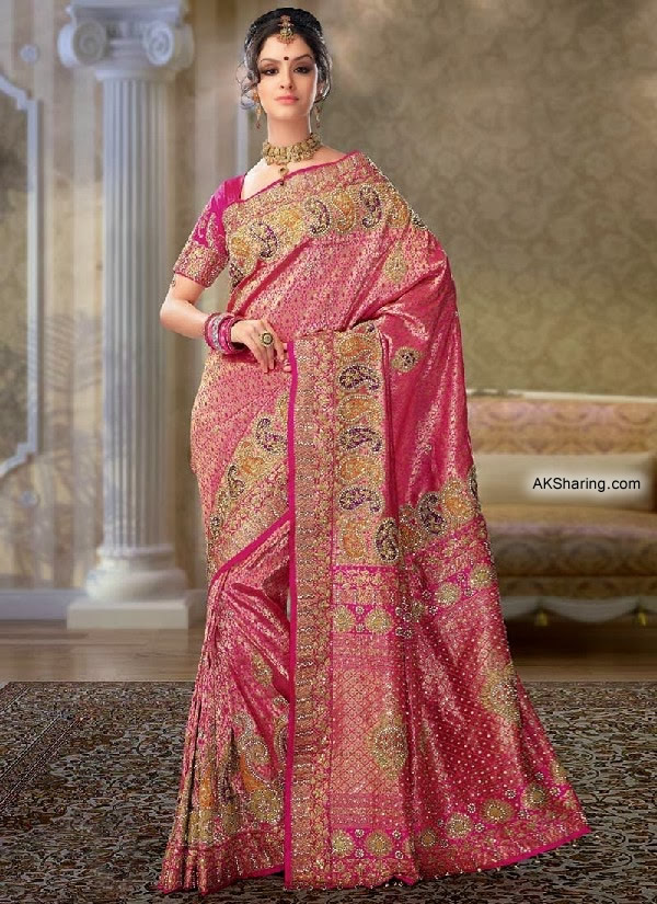 Purple and Red Saree Lehenga With Golden Work