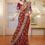 Indian Maroon Bridal Sarees With Golden Brocade