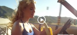 Hot Girl Eating Banana During Fast Car Driving